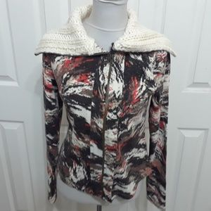 Hem & Thread Modcloth Orange Brown Ivory Sweater